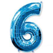 Balão Metalizado Número 6 Azul - 1 metro