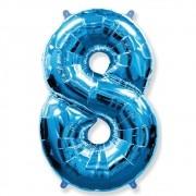Balão Metalizado Número 8 Azul - 1 metro
