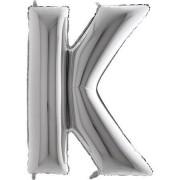Balão Metalizado Prata Letra K - 40cm