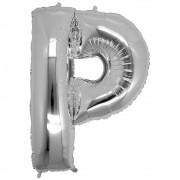 Balão Metalizado Prata Letra P - 40cm