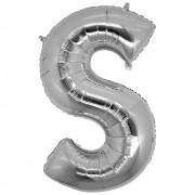 Balão Metalizado Prata Letra S - 40cm