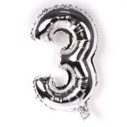 Balão Metalizado Prata Número 3 - 40cm