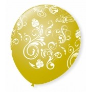 Balão São Roque N°9 C/25un Decorado Arabesco Dourado Com Branco