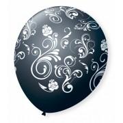 Balão São Roque N°9 C/25un Decorado Arabesco Preto Com Branco