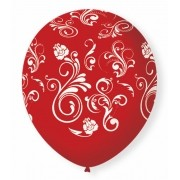 Balão São Roque N°9 C/25un Decorado Arabesco Vermelho Com Branco