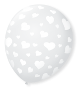 Balão São Roque N°9 C/25un Decorado Coração Cristal Com Branco