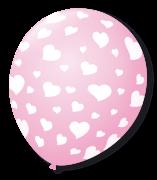 Balão São Roque N°9 C/25un Decorado Coração Rosa Baby Com Branco