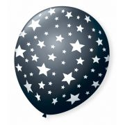 Balão São Roque N°9 C/25un Decorado Estrela Preto Ébano Com Branco