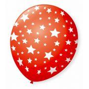 Balão São Roque N°9 C/25un Decorado Estrela Vermelho Quente Com Branco