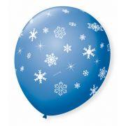 Balão São Roque N°9 C/25un Decorado Flocos de Neve Azul Turquesa Com Branco