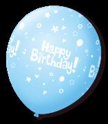 Balão São Roque N°9 C/25un Decorado Happy Birthday Azul Claro Com Branco