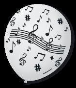 Balão São Roque N°9 C/25un Decorado Notas Musicais Branco Com Preto