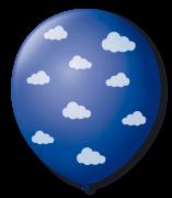 Balão São Roque N°9 C/25un Decorado Nuvenzinha Azul Cobalto Com Branco