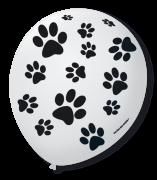Balão São Roque N°9 C/25un Decorado Patinha de Cachorro Branco Com Preto