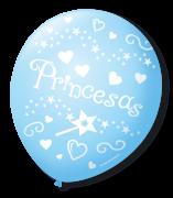 Balão São Roque N°9 C/25un Decorado Princesas Azul Baby Com Branco