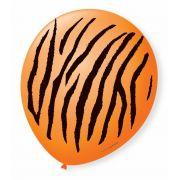 Balão São Roque N°9 C/25un Decorado Safari Tigre Laranja com Preto