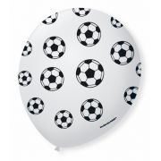 Balão São Roque N°9 C/25un Decorado Torcida Branco Com Preto