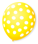 Balão São Roque Póa N°9 C/25un Amarelo Com Bolinha Branca