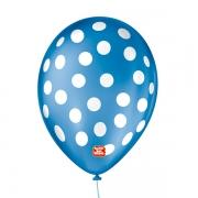 Balão São Roque Póa N°9 C/25un Azul Cobalto Com Bolinha Branca