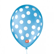 Balão São Roque Póa N°9 C/25un Azul Turquesa Com Bolinha Branca