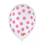 Balão São Roque Póa N°9 C/25un Branco Com Bolinha Rosa