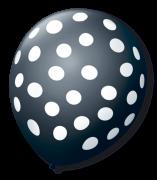 Balão São Roque Póa N°9 C/25un Preto Com Bolinha Branca