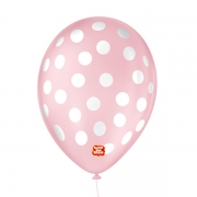 Balão São Roque Póa N°9 C/25un Rosa Baby Com Bolinha Branca