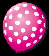 Balão São Roque Póa N°9 C/25un Rosa Shock Com Bolinha Branca