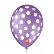 Balão São Roque Póa N°9 C/25un Roxo Ametista Com Bolinha Branca
