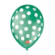 Balão São Roque Póa N°9 C/25un Verde Folha Com Bolinha Branca