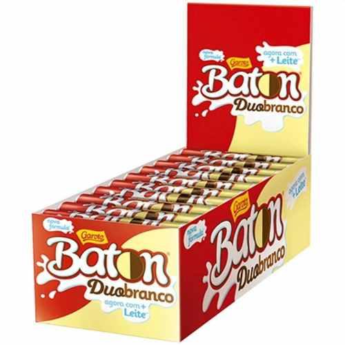 Chocolate Baton Duo Ao Leite E Branco 16gr C/30un - Garoto