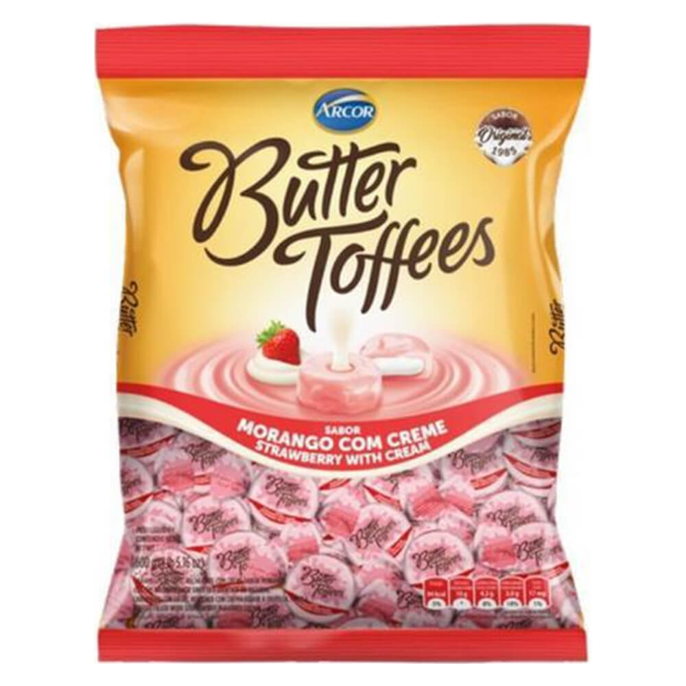 Bala Butter Toffees Morango com Creme 500g - Arcor