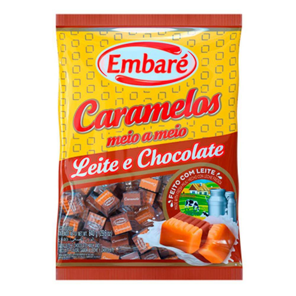 Bala de Caramelo Leite e Chocolate 660g - Embaré