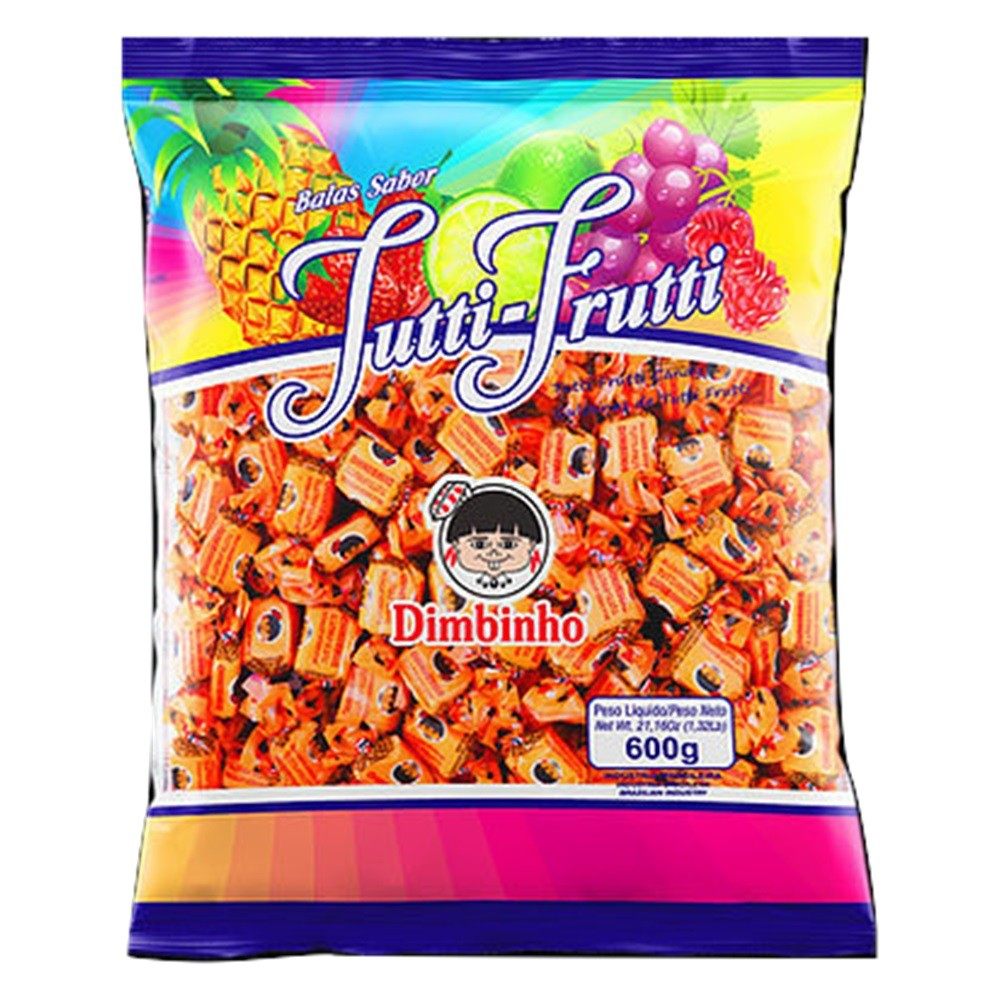 Bala Mastigável Tutti-Frutti 600g - Dimbinho
