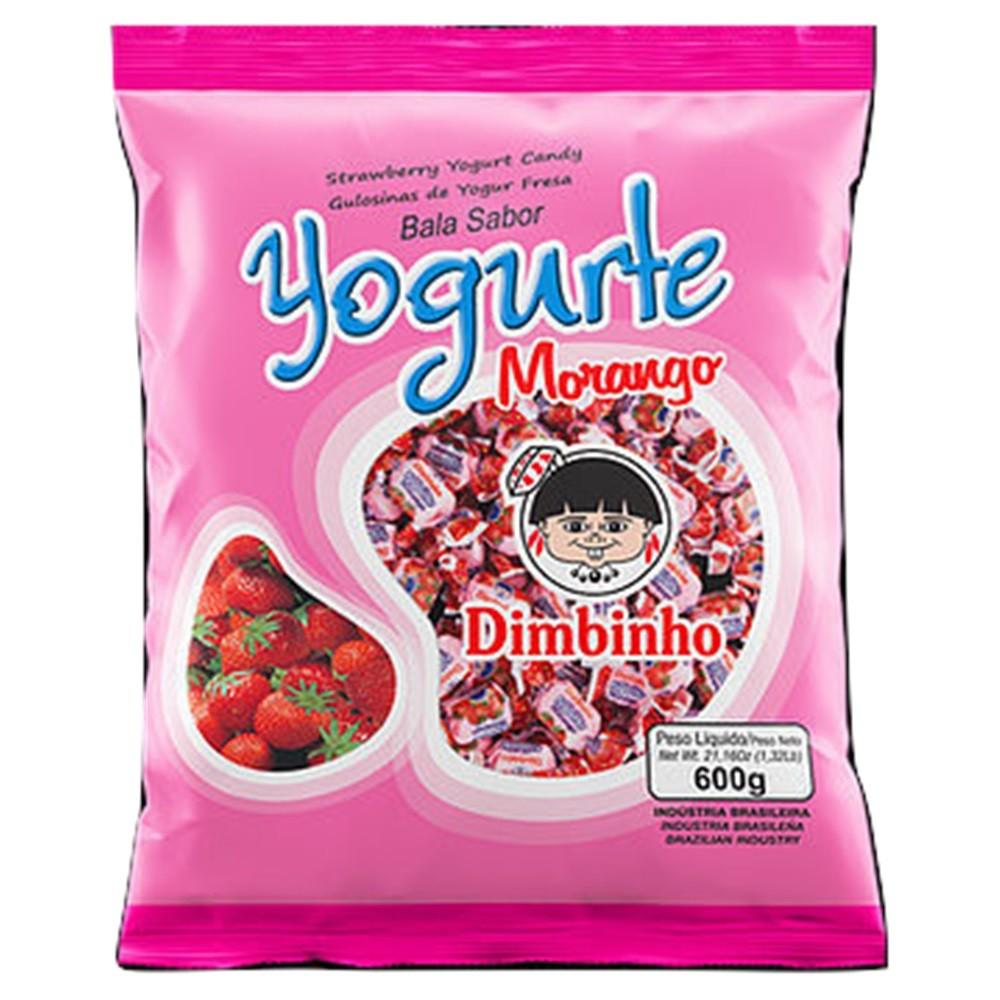Bala Mastigável Yogurte Morango 600g - Dimbinho