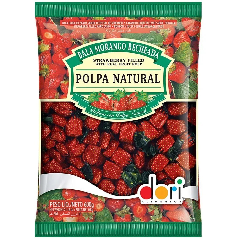 Bala Morango Recheada Polpa Natural 600g - Dori