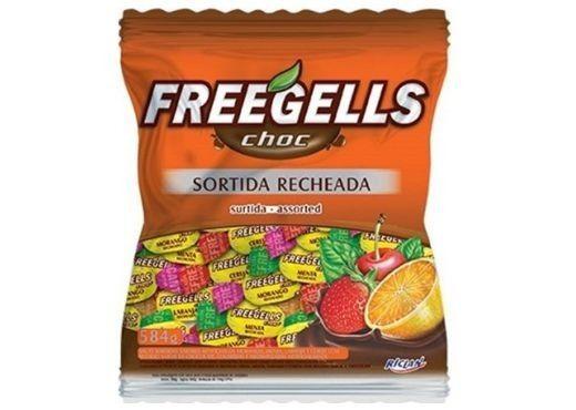 Bala Recheada com Chocolate sortido 584gr - Freegells