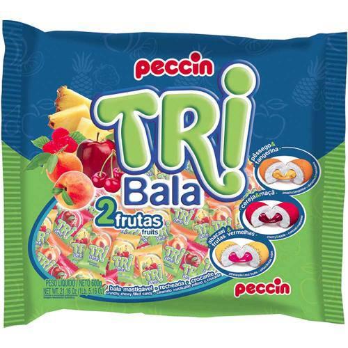 Bala Recheada Tri Bala Sabor Frutas 500gr - Peccin