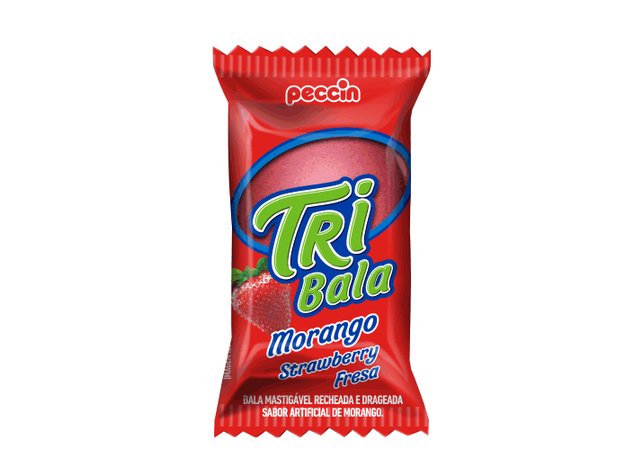 Bala Recheada Tri Bala Sabor Morango 500gr - Peccin