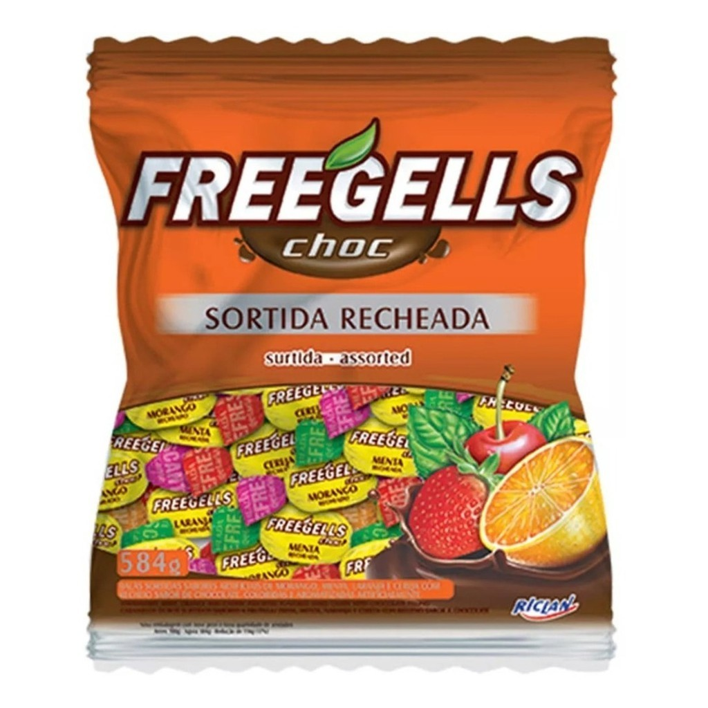 Bala Sortido Recheada Chocolate 584gr - Freegells