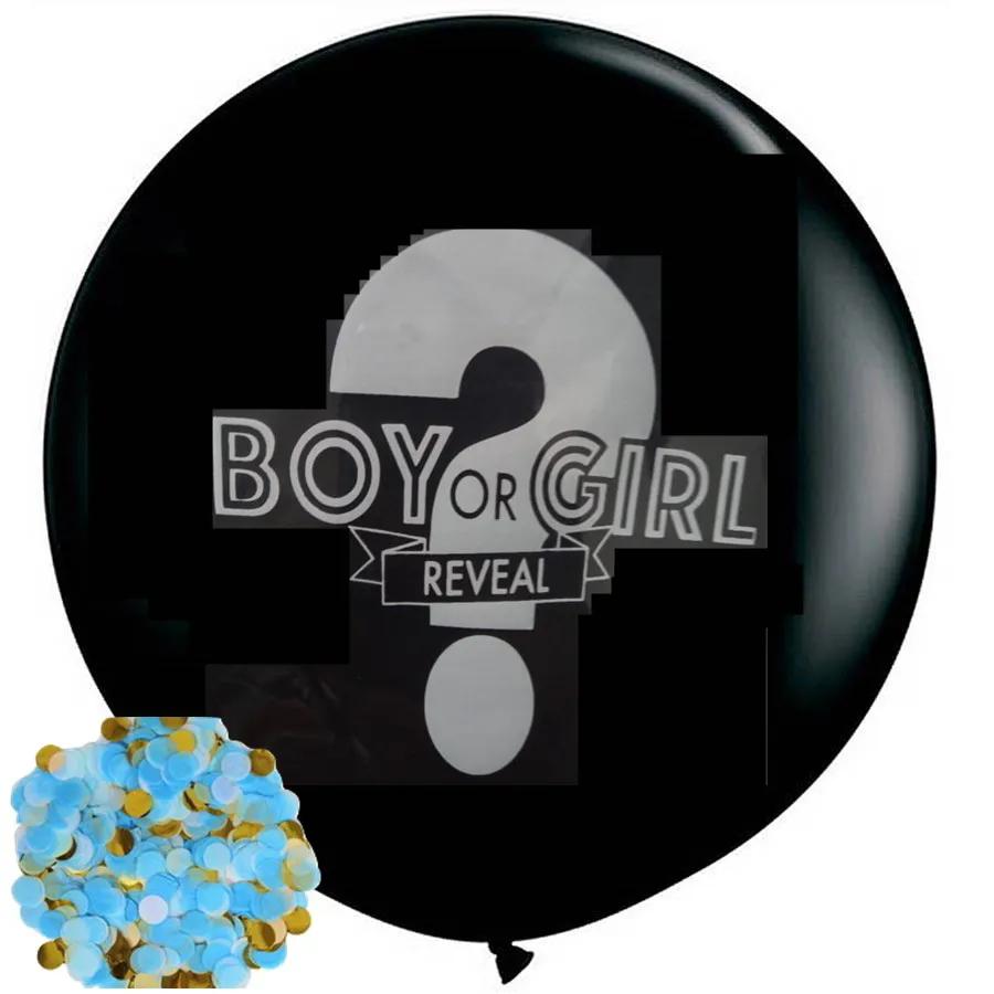 Balão Chá Revelação Gigante Preto Com Confetes Azul