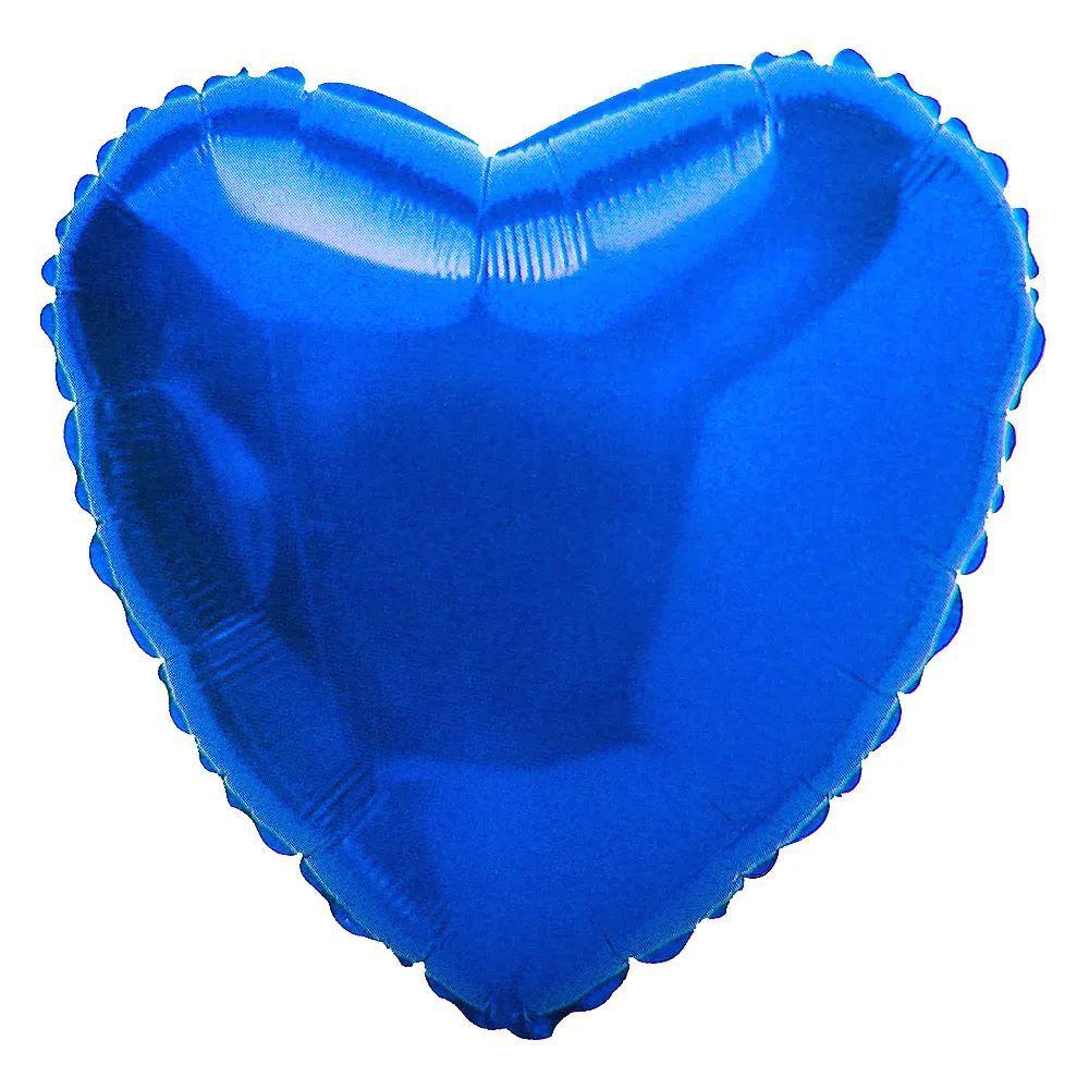 """Balão Metalizado Coração 18"""" (aprox. 45cm) Azul"""