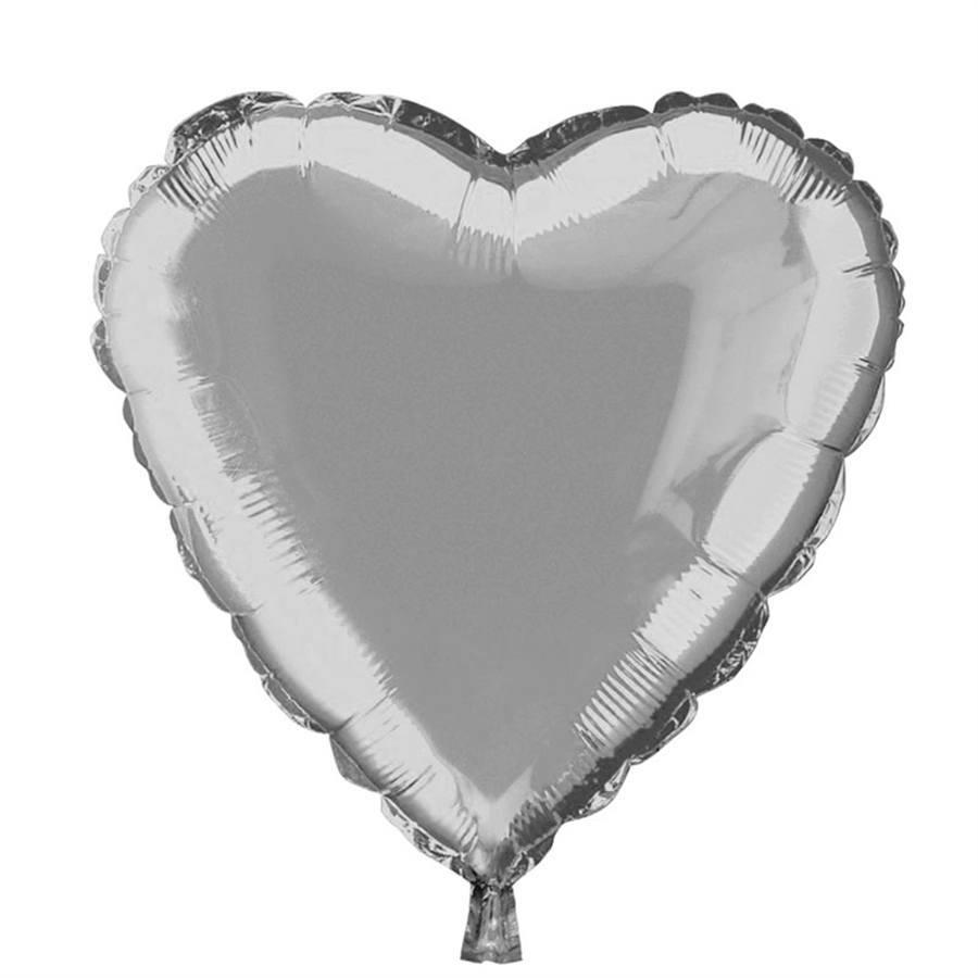 """Balão Metalizado Coração 18"""" (aprox. 45cm) Prata"""