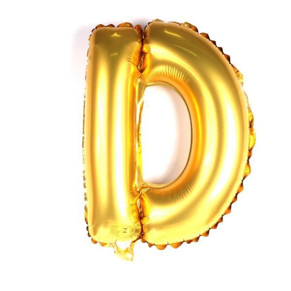 Balão Metalizado Dourado Letra D 1 metro