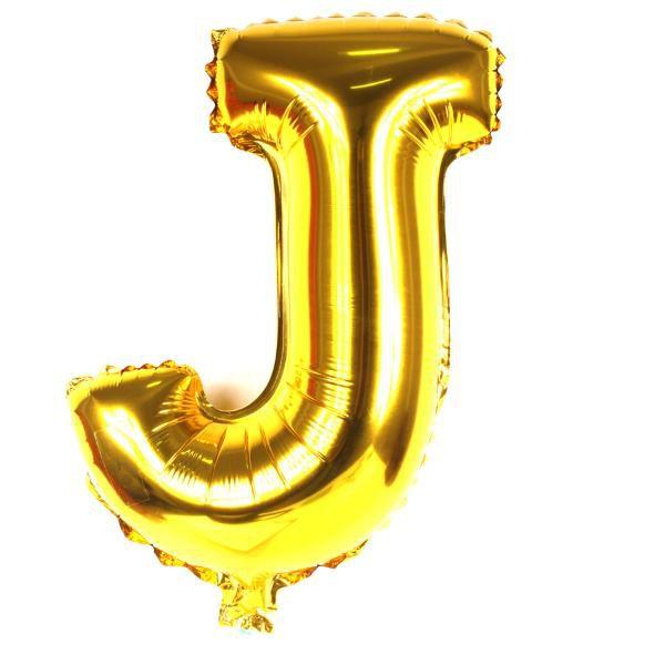 Balão Metalizado Dourado Letra J - 40cm