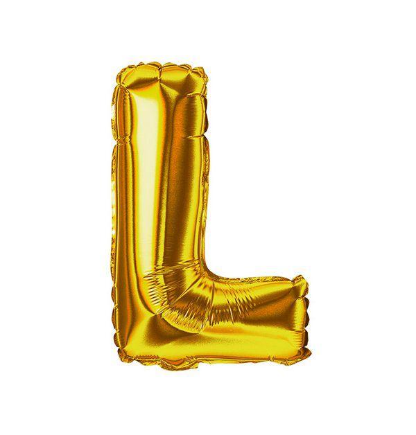 Balão Metalizado Dourado Letra L 1 metro