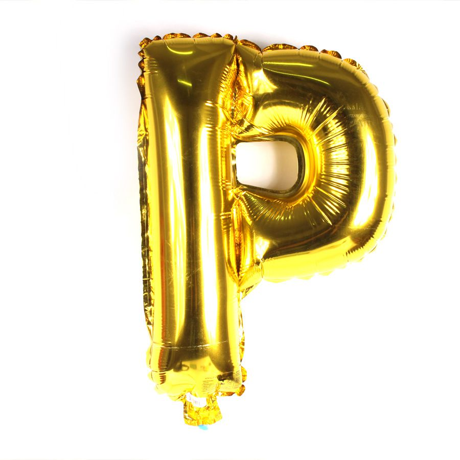Balão Metalizado Dourado Letra P - 40cm