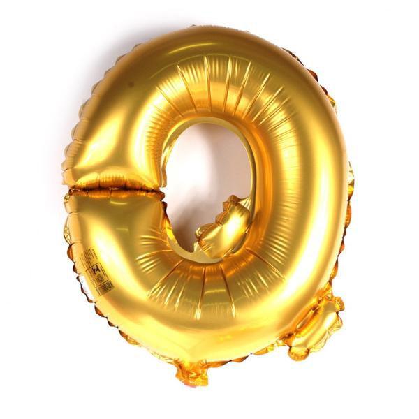 Balão Metalizado Dourado Letra Q 1 metro