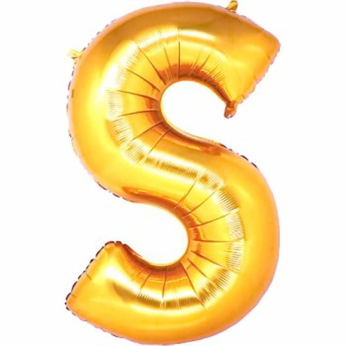 Balão Metalizado Dourado Letra S 1 metro