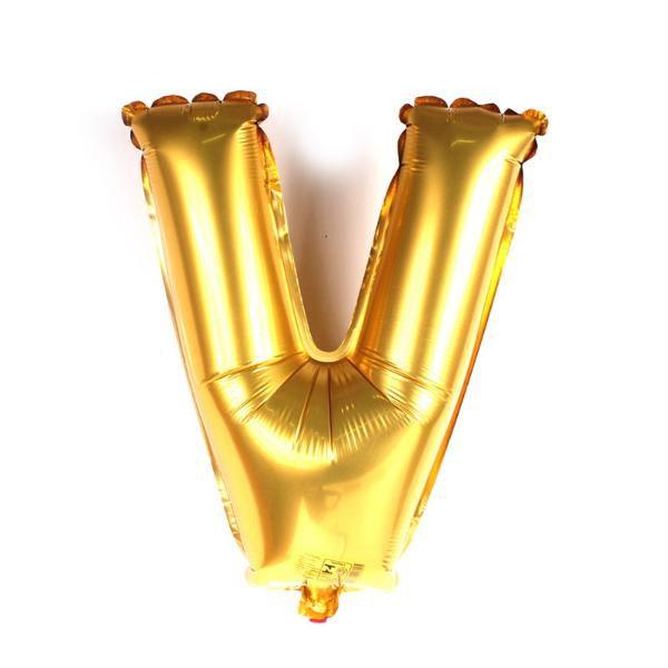 Balão Metalizado Dourado Letra V - 40cm